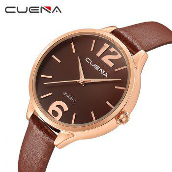 CUENA 6630P Women Fashion Genuine Leather Band Quartz Analog Wristwatch - BROWN