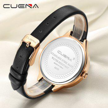 CUENA 6630P Women Fashion Genuine Leather Band Quartz Analog Wristwatch -  BLACK