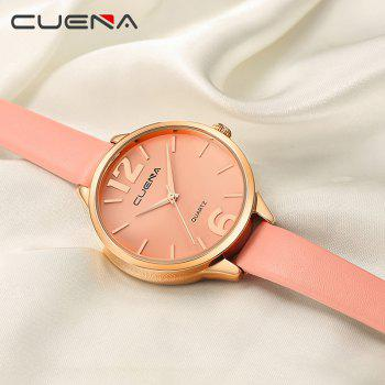 CUENA 6630P Women Fashion Genuine Leather Band Quartz Analog Wristwatch - PINK