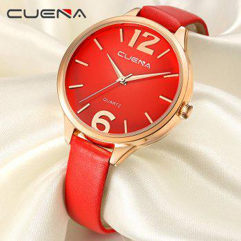 CUENA 6630P Women Fashion Genuine Leather Band Quartz Analog Wristwatch - RED