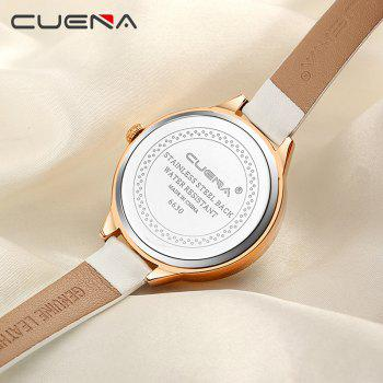 CUENA 6630P Women Fashion Genuine Leather Band Quartz Analog Wristwatch -  WHITE