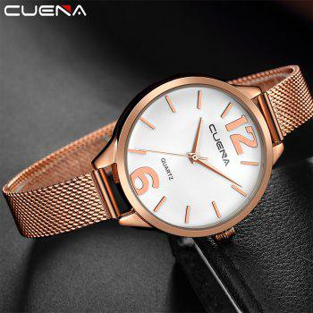 CUENA 6630G Women Fashion Stainless steel Watchband Quartz Wristwatch - WHITE