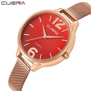 CUENA 6630G Women Fashion Stainless steel Watchband Quartz Wristwatch - RED