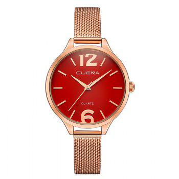 CUENA 6630G Women Fashion Stainless steel Watchband Quartz Wristwatch - RED RED