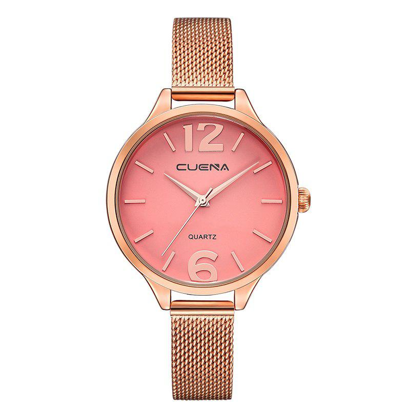 CUENA 6630G Women Fashion Stainless steel Watchband Quartz Wristwatch - PINK