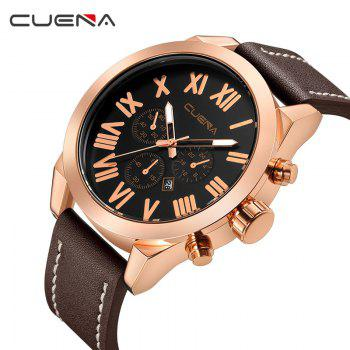 CUENA 6628P Men Fashion Leather Watchband Quartz Wristwatch -  BROWN BAND BROWN DIAL ROSE GOLD CASE