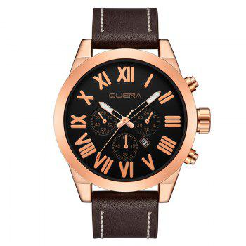 CUENA 6628P Men Fashion Leather Watchband Quartz Wristwatch - BROWN BAND BROWN DIAL ROSE GOLD CASE BROWN BAND BROWN DIAL ROSE GOLD CASE