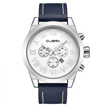 CUENA 6628P Men Fashion Leather Watchband Quartz Wristwatch - BLUE AND WHITE BLUE/WHITE