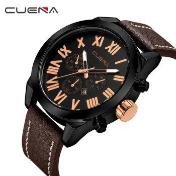 CUENA 6628P Men Fashion Leather Watchband Quartz Wristwatch - BROWN
