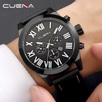 CUENA 6628P Men Fashion Leather Watchband Quartz Wristwatch - BLACK