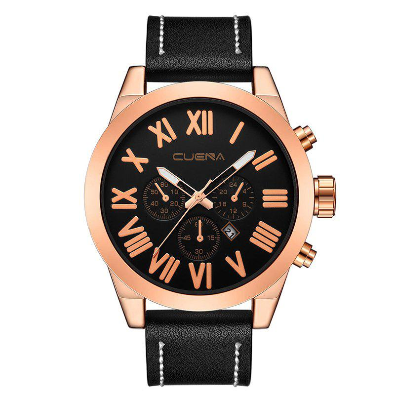 CUENA 6628P Men Fashion Leather Watchband Quartz Wristwatch - BLACK BAND BLACK DIAL ROSE GOLD CASE