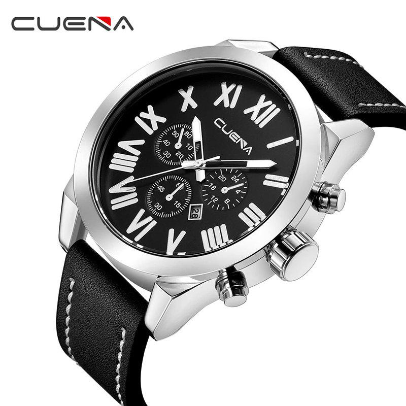 CUENA 6628P Men Fashion Leather Watchband Quartz Wristwatch - BLACK BAND BLACK DIAL SILVER CASE