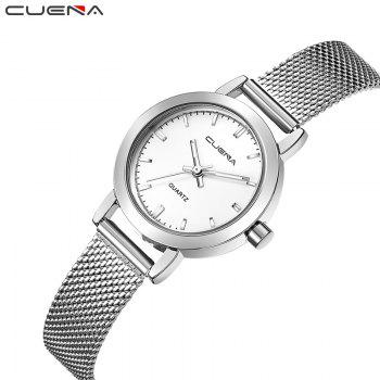 CUENA 6627G Luxury Women Quartz Watch Watche Waterproof Stainless Steel Watchband -  SILVER WHITE