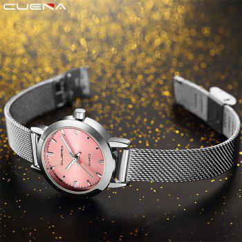 CUENA 6627G Luxury Women Quartz Watch Watche Waterproof Stainless Steel Watchband -  PINK/SILVER