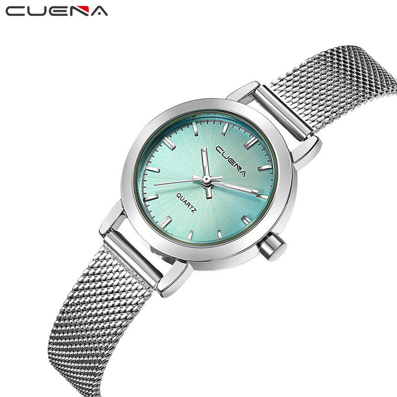 CUENA 6627G Luxury Women Quartz Watch Watche Waterproof Stainless Steel Watchband - GREEN
