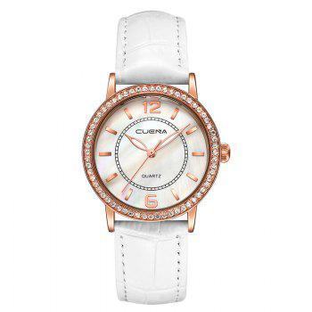 CUEAN 6626P Women Fashion Genuine Leather Band Quartz Wristwatch - WHITE WHITE