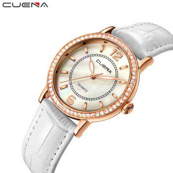 CUEAN 6626P Women Fashion Genuine Leather Band Quartz Wristwatch -  WHITE