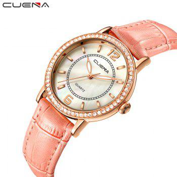 CUEAN 6626P Women Fashion Genuine Leather Band Quartz Wristwatch - PINK
