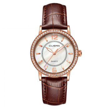 CUEAN 6626P Women Fashion Genuine Leather Band Quartz Wristwatch - BROWN BROWN
