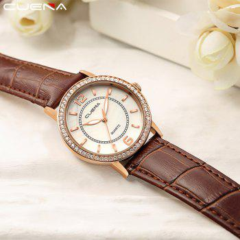 CUEAN 6626P Women Fashion Genuine Leather Band Quartz Wristwatch - BROWN
