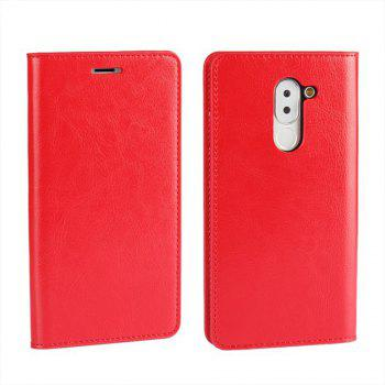 XY2 Crazy Horse Embossed Leather Wallet Clamshell Mobile Phone Protective Sleeve for HUAWEI Glory Play 6X - RED RED