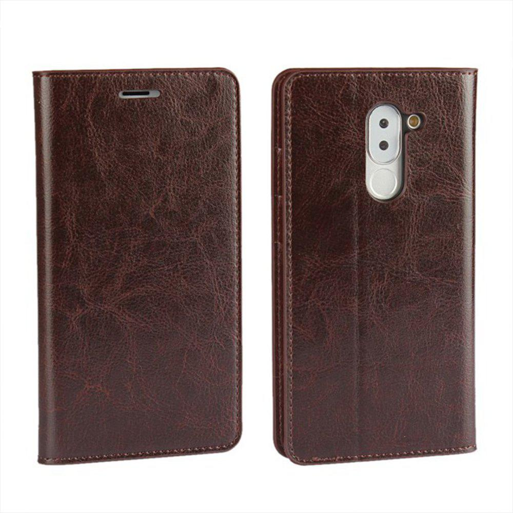 XY2 Crazy Horse Embossed Leather Wallet Clamshell Mobile Phone Protective Sleeve for HUAWEI Glory Play 6X - DEEP BROWN
