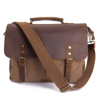WalkingToSky Men Handbags 15.6 Inch Leather Vintage Messenger Shoulder Bag Canvas Satchel Laptops -  COFFEE