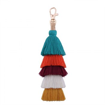 Single Color Multilayer Fringe Key Ring Fashion Bag Mobile Phone Accessories - COLORFUL COLORFUL