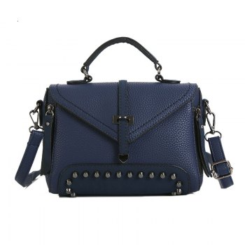 Rivets Single Arrow Messenger Bag New Lychee Pattern Diagonal Package - BLUE BLUE