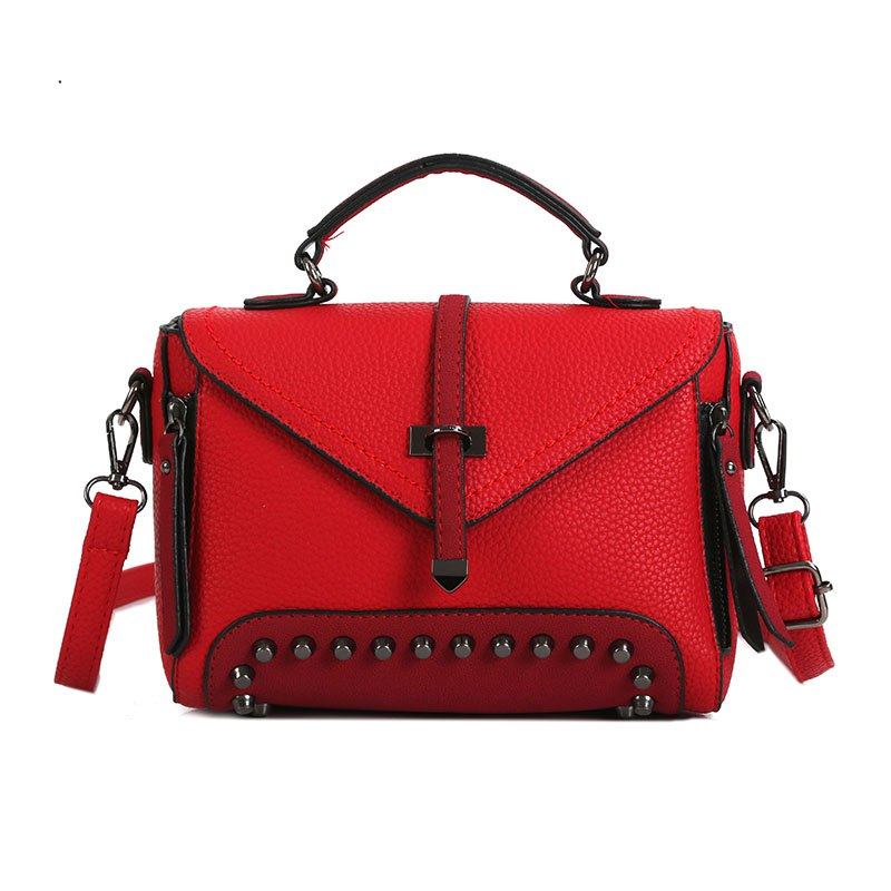 Rivets Single Arrow Messenger Bag New Lychee Pattern Diagonal Package - RED
