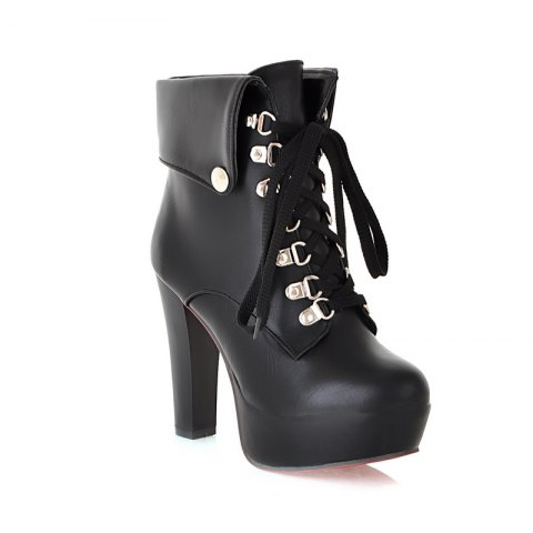 Thick Heel Autumn Winter New Tie High Heels Waterproof Platform Martin Boots - BLACK 39