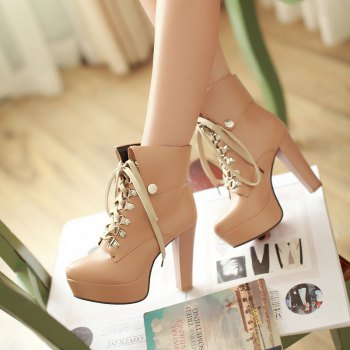 Thick Heel Autumn Winter New Tie High Heels Waterproof Platform Martin Boots - APRICOT APRICOT