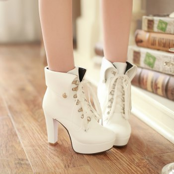 Thick Heel Autumn Winter New Tie High Heels Waterproof Platform Martin Boots - WHITE 43