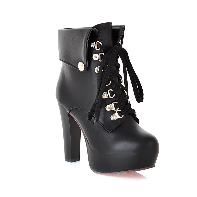 Thick Heel Autumn Winter New Tie High Heels Waterproof Platform Martin Boots - BLACK 40