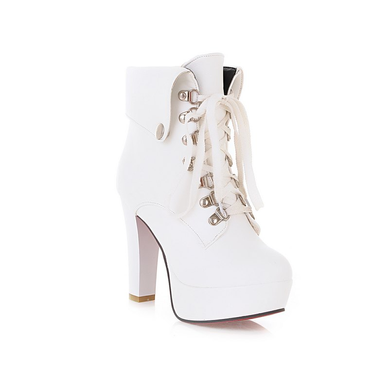 Thick Heel Autumn Winter New Tie High Heels Waterproof Platform Martin Boots - WHITE 40
