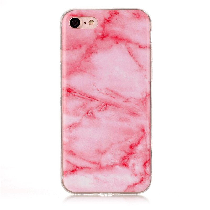 Marble Pattern TPU Back Cover Case for iPhone 8 - Pink - PINK
