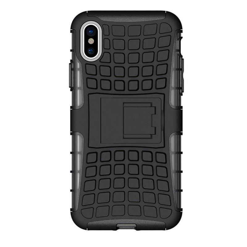 Heavy-duty Hard Back Case Cover with Kickstand for iPhone X - BLACK