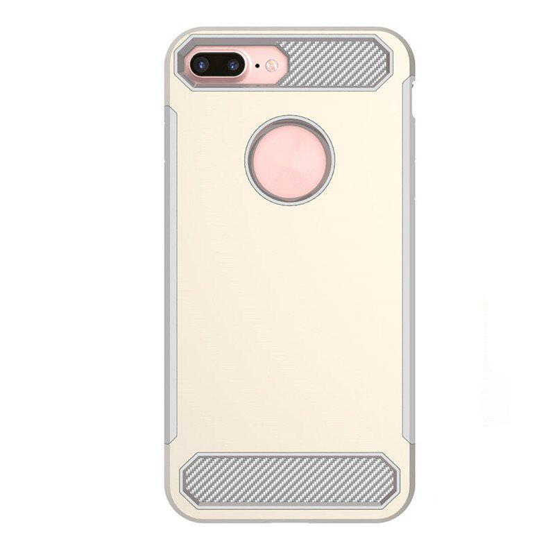 Carbon Fiber Drop-proof Skid Phone Case for iPhone 8 Plus - YELLOW