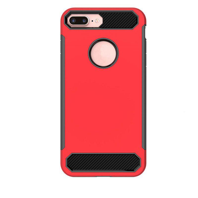 Carbon Fiber Drop-proof Skid Phone Case for iPhone 8 Plus - RED