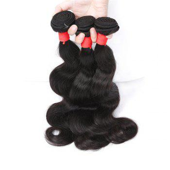 Natural Color Indian Body Wave Unprocessed Virgin Human Hair weaves 1pc / 100g - BLACK 24INCH