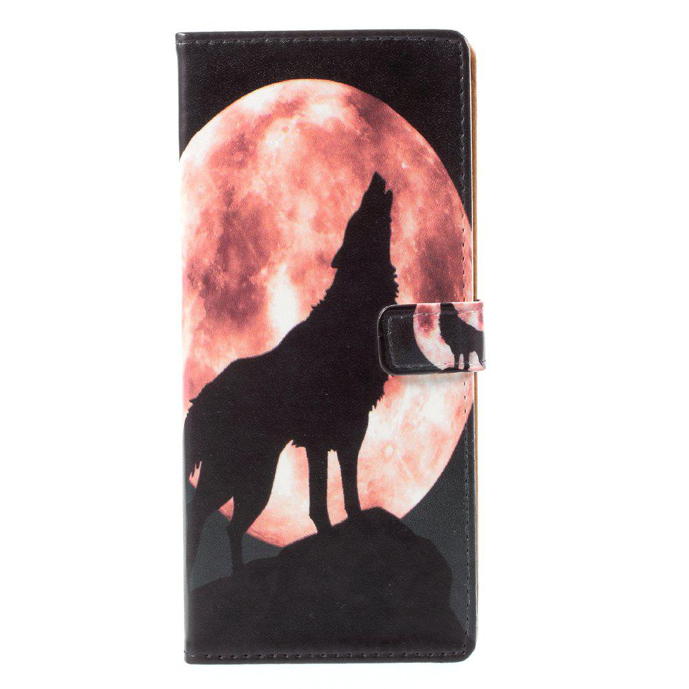 Moon Wolf PU Leather Wallet Stand Phone Cover for Samsung Galaxy Note8 - BLACK