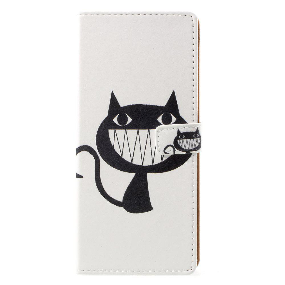 Smile Cat Pattern Flip Leather Wallet Stand Phone Cover for Samsung Galaxy Note 8 - WHITE