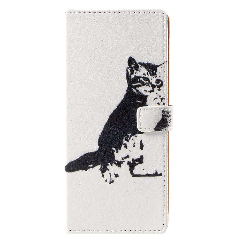 Cute Cat Pattern PU Leather Wallet Stand Phone Cover for Samsung Galaxy Note 8 - WHITE