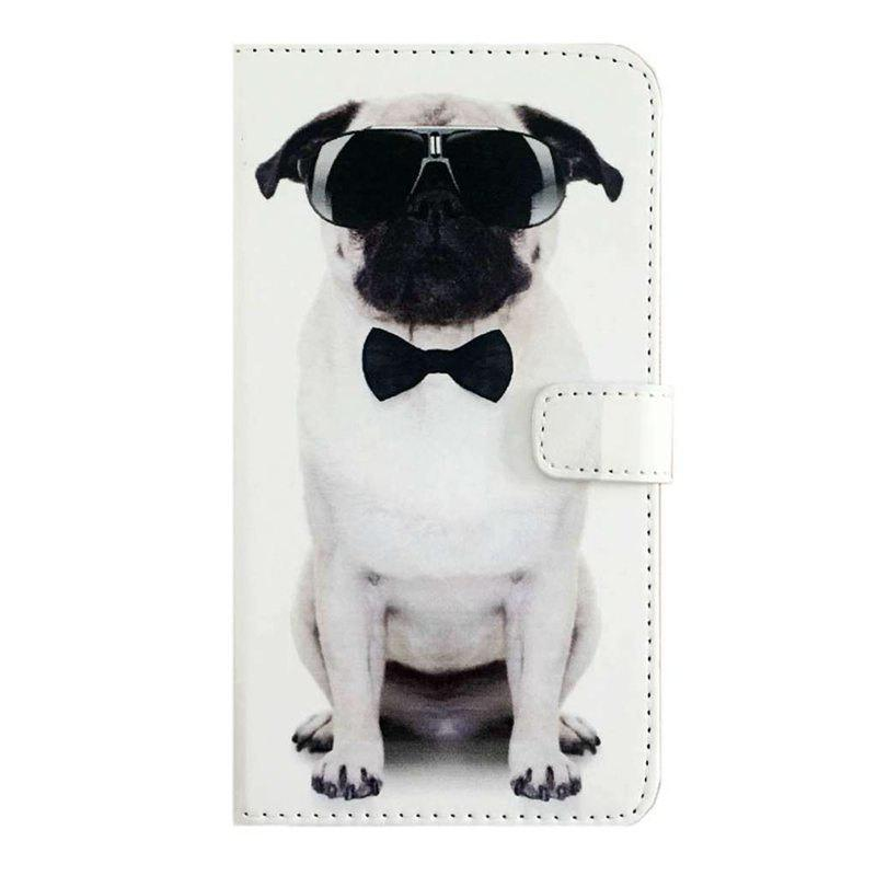 Cool Dog Pattern PU Leather Wallet Stand Phone Cover for Samsung Galaxy Note 8 - WHITE