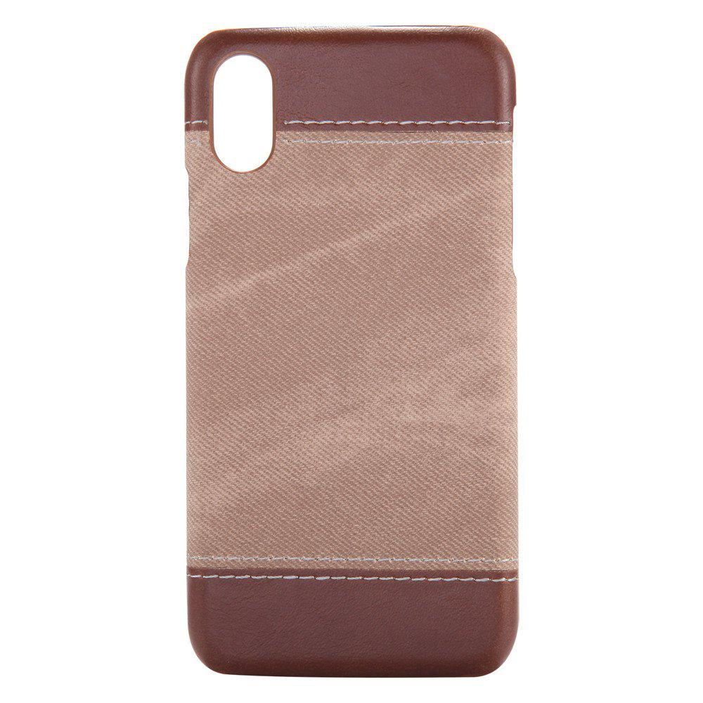 Denim Protective Shell for Mobile Phone for iPhone X - BROWN
