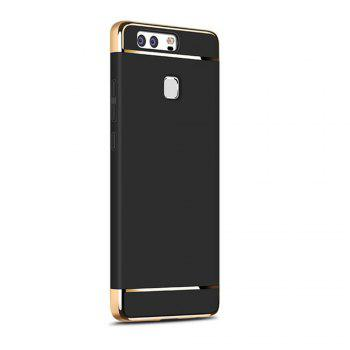 Luxury Hybrid 3 in 1 Plating PC Hard Back Cover for Huawei P9 - BLACK BLACK