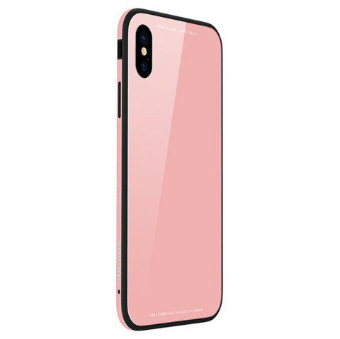 9H Hard Glass Back Protector Soft Silicone + Metal Aluminium Bumper Phone Case Cover for iPhone X - PINK