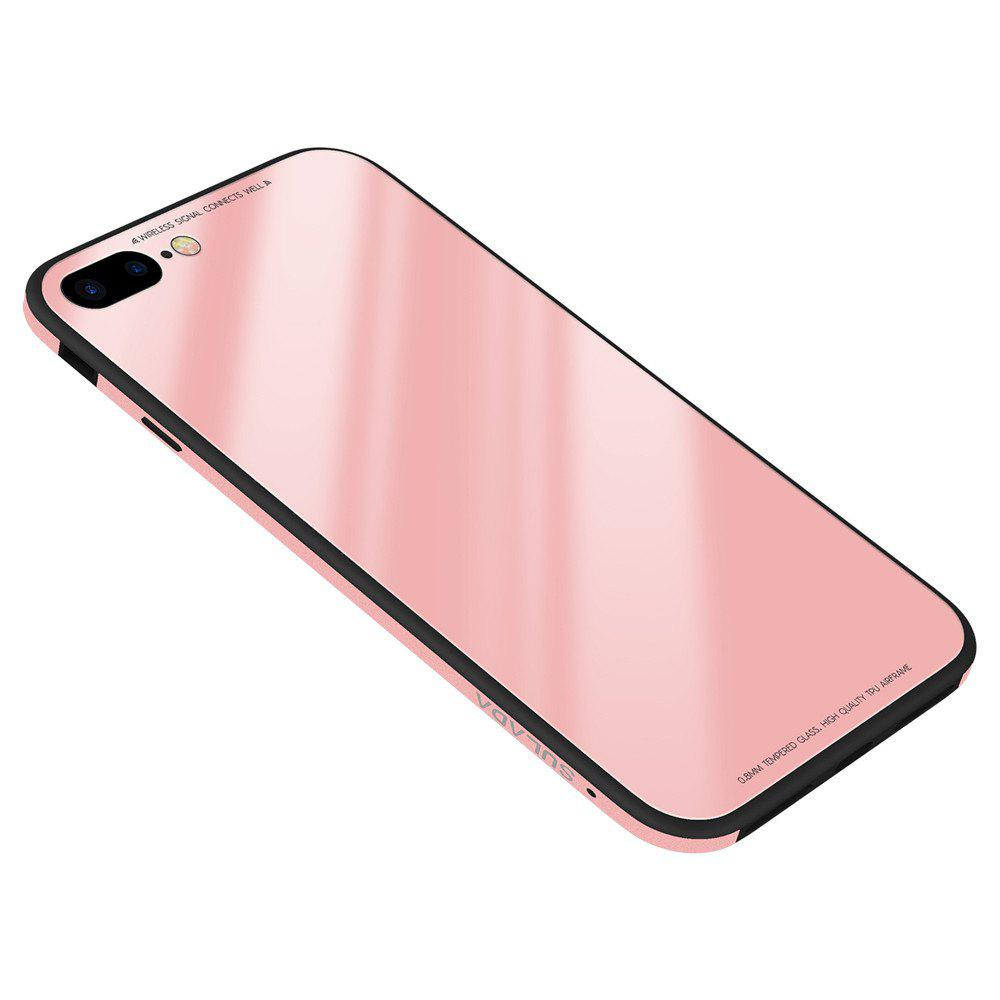 9H Hard Glass Back ProtectorSoft Silicone + Metal Aluminium Bumper Phone Case Cover for iPhone 7 Plus / 8 Plus - PINK