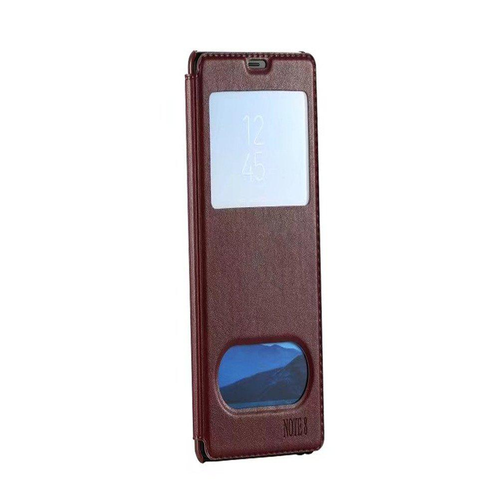 For Samsung Note 8 Cases Smart Window Automatically Sleep Following Holster - BROWN