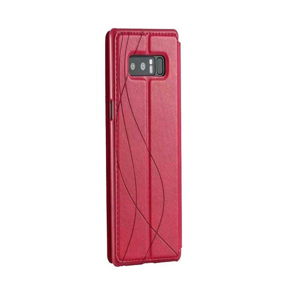 For Samsung Note 8 Cases Smart Window Automatically Sleep Following Holster - ROSE RED
